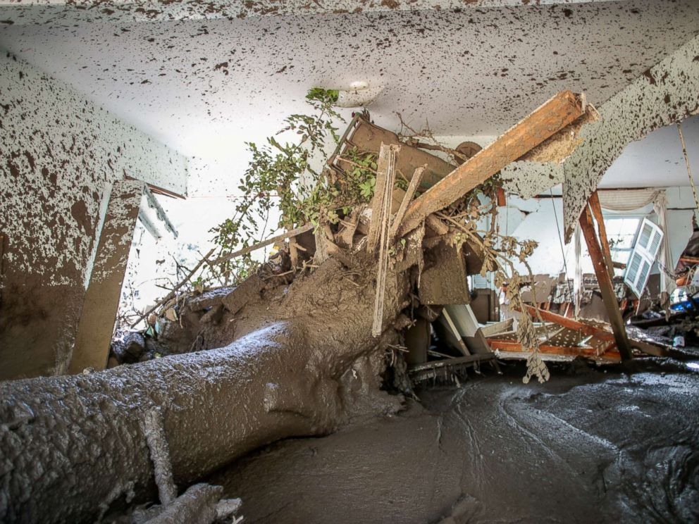 PHOTO: A mud-filled property is seen after a mudslide in Montecito, California, Jan. 12, 2018.