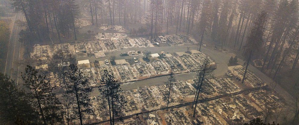 PHOTO: Residences leveled by the wildfire line a neighborhood in Paradise, Calif., Nov. 15, 2018.