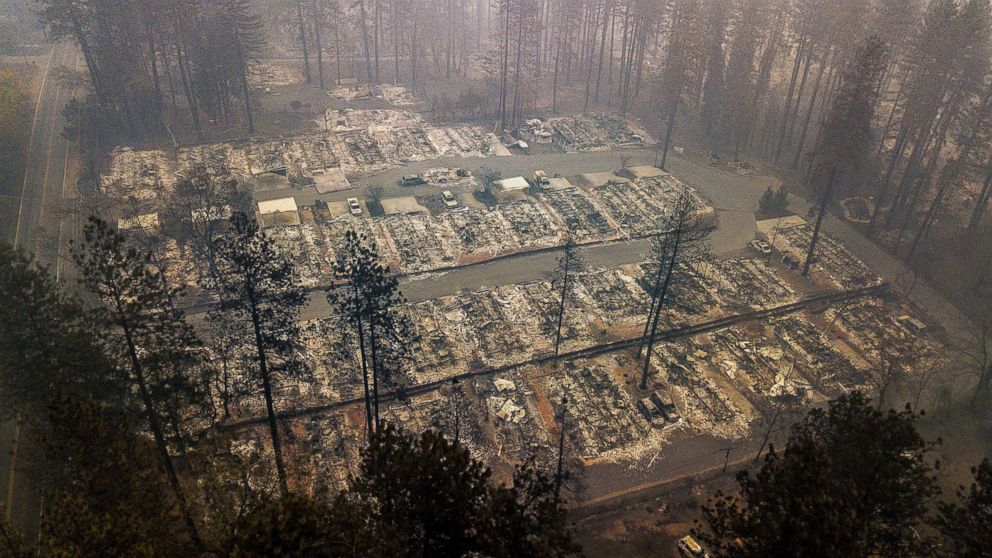 Residences leveled by the wildfire line a neighborhood in Paradise, Calif., Nov. 15, 2018.