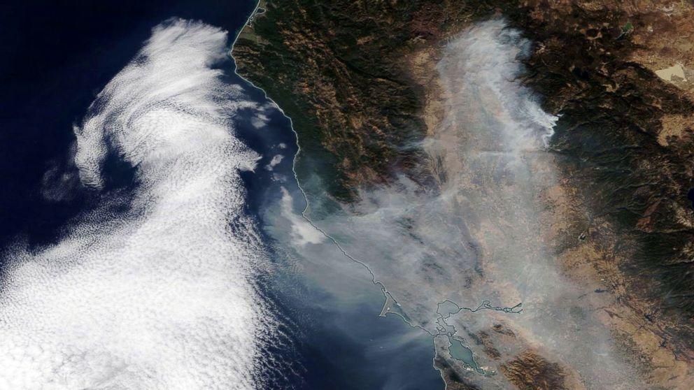 Smoke from the Camp Fire spreading over Northern California towards the Pacific Ocean, Nov. 16, 2018.