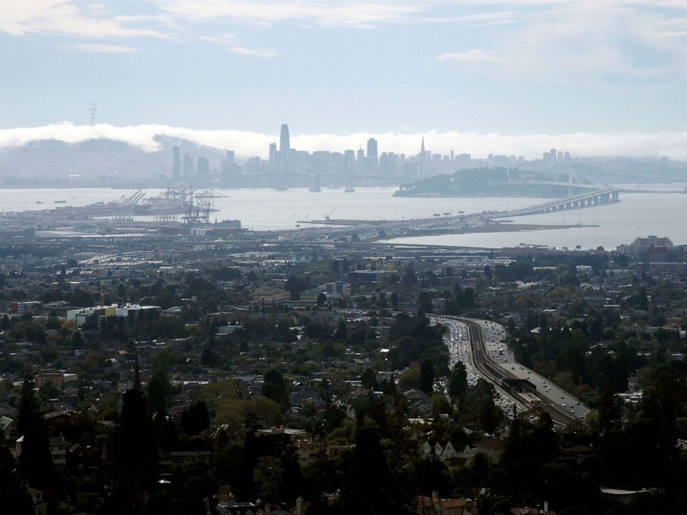 PHOTO: A view of the cities of Oakland, Berkeley, Emeryville and the skyline of San Francisco from Berkeley, Calif., Oct. 8,2019.