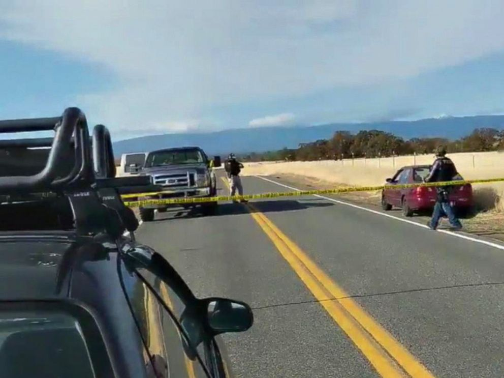 PHOTO: Cars are blocked on the road in northern California where several shootings have taken place, Nov. 14, 2017.