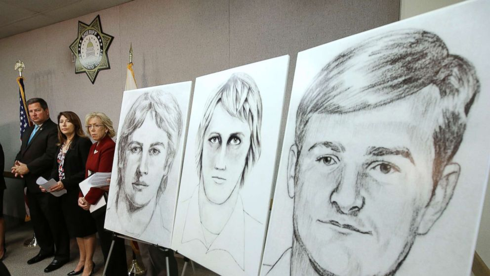 In this June 15, 2016, file photo, law enforcement drawings of a suspected serial killer believed to have committed at least 12 murders across California in the 1970's and 1980's are displayed at a news conference about the investigation, in Sacramento, Calif.