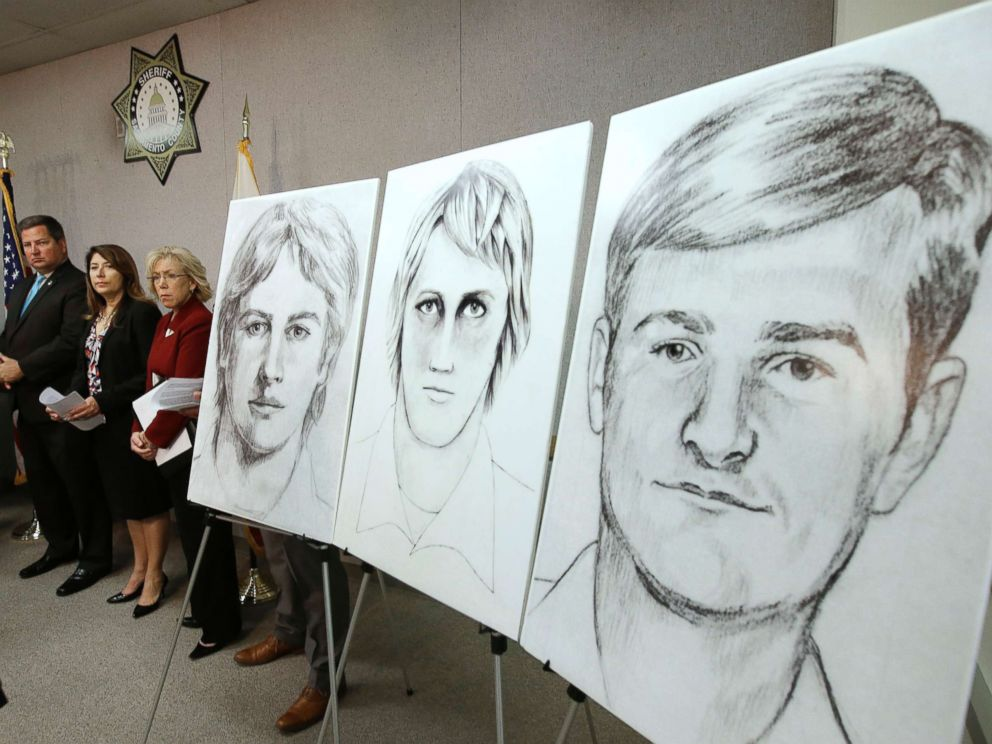 In this June 15, 2016 photo law enforcement drawings of a suspected serial killer believed to have committed at least 12 murders across California in the 1970s and 1980s are displayed at a news conference in Sacramento, Calif.