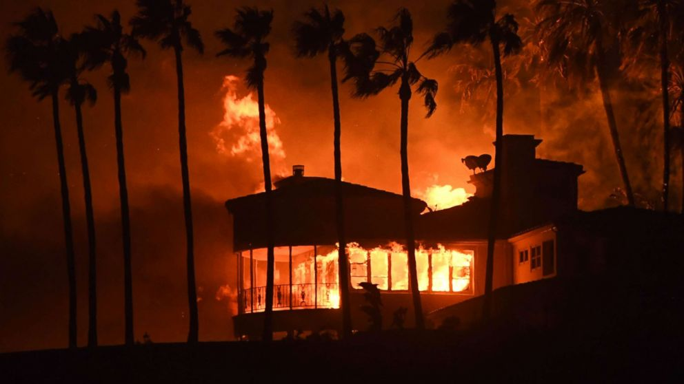 A house burns during the Woolsey Fire on Nov. 9, 2018 in Malibu, Calif.