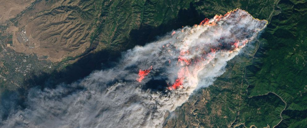 PHOTO: This enhanced satellite image provided by NASAs Earth Observatory, shows a wildfire in Paradise, Calif., on Thursday, Nov. 8, 2018.