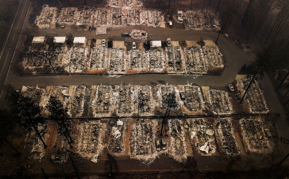 Mobile home park burns as Southern California winds whip up
