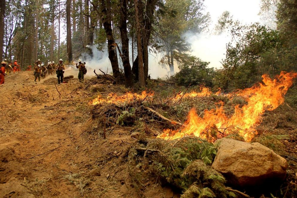 PHOTO: Firefighters battle the Ferguson Fire, the largest fire in the Sierra National Forests history, in this U.S. Forest Service photo released on social media, in Calif., Aug. 8, 2018.
