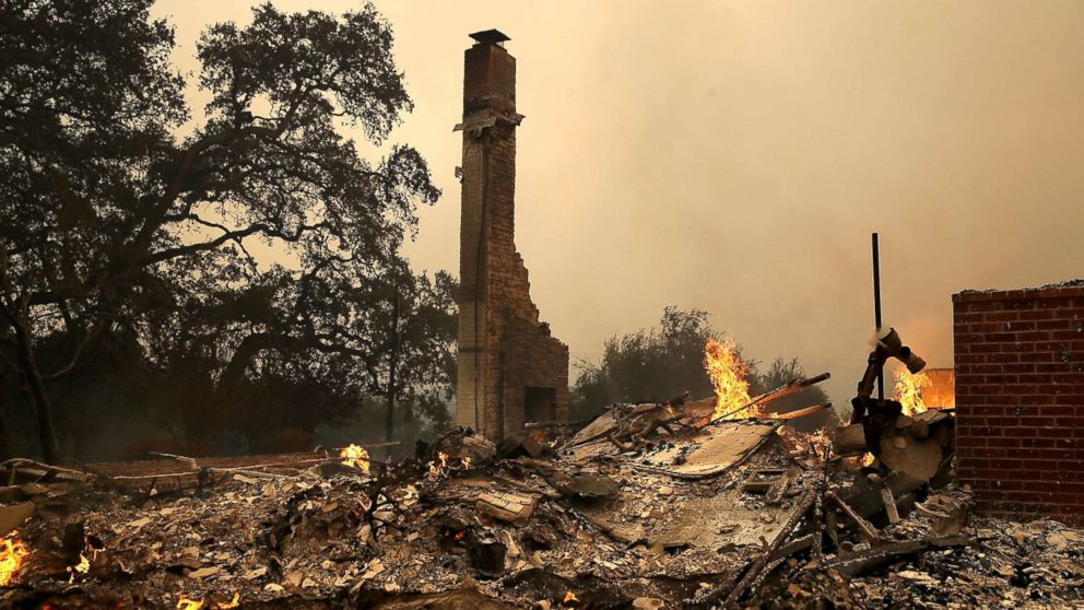 The remains of fire damaged homes after an out of control wildfire moved through the area, Oct. 9, 2017, in Glen Ellen, California.