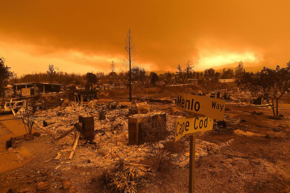 Homes leveled by the Carr Fire line the Lake Keswick Estates area of Redding, Calif., July 27, 2018.