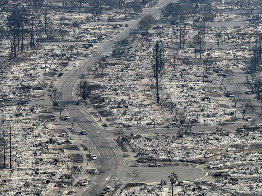 PHOTO: An aerial view of homes that were destroyed by the Tubbs Fire, Oct. 11, 2017 in Santa Rosa, Calif.
