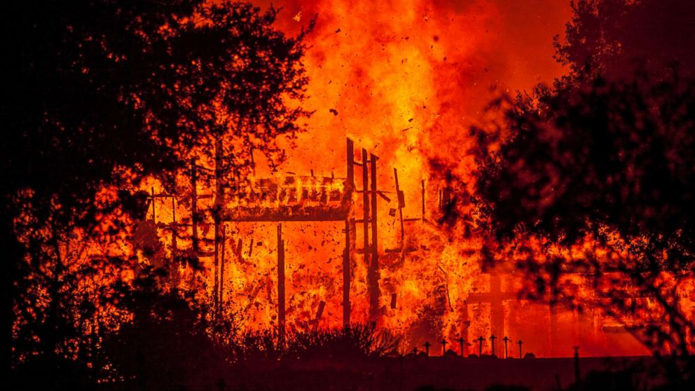 Fire totally engulfed the main structure at the Paras Vineyards as the Nun fire continues to burn west of downtown Napa, Calif., Oct. 10, 2017.