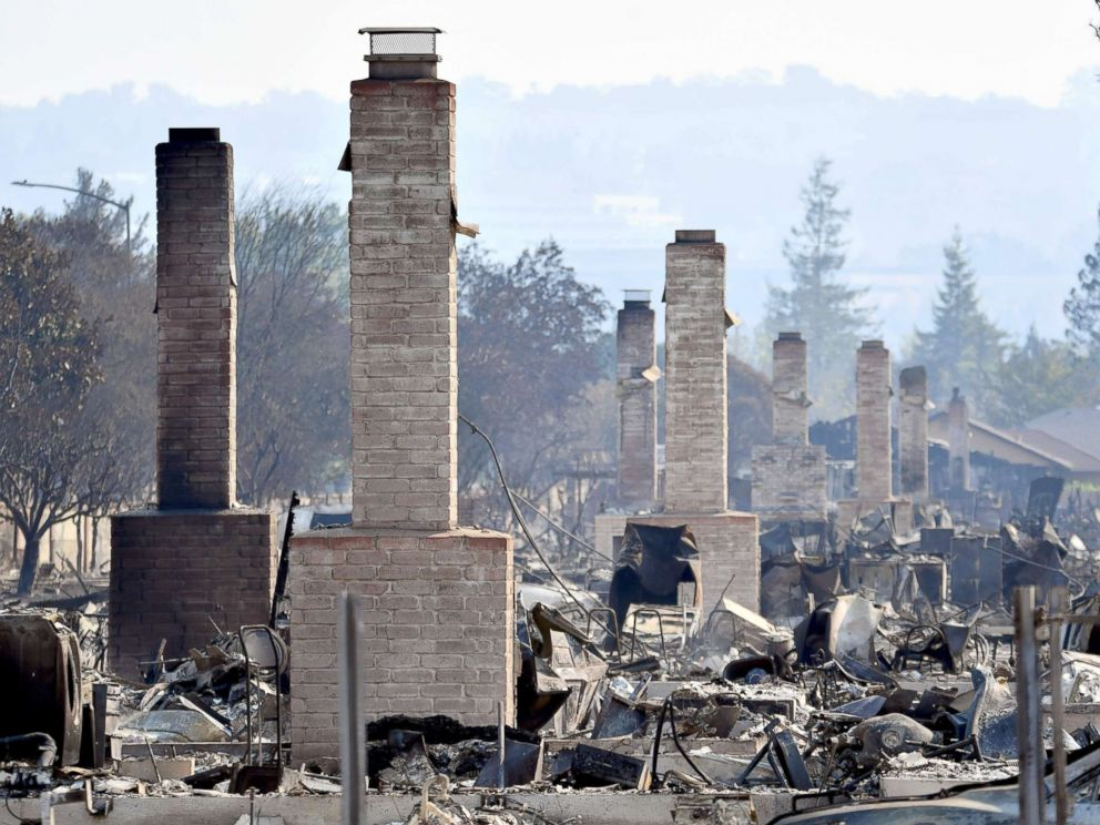 PHOTO: Chimneys are all that remain standing amidst a swath of burned out properties in Santa Rosa, Calif., Oct. 12, 2017. <p itemprop=