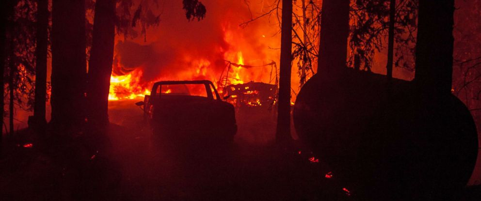 PHOTO: Flames from the Nun fire totally engulfed a home and cars along Mt Veeder road west downtown Napa, Calif., Oct. 10, 2017.