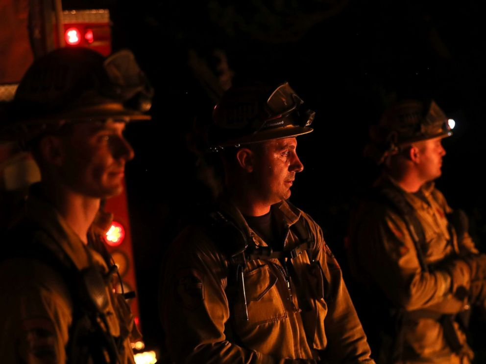 PHOTO: CalFire firefighters monitor a firing operation as they battle the Tubbs Fire, Oct. 12, 2017 near Calistoga, Calif.