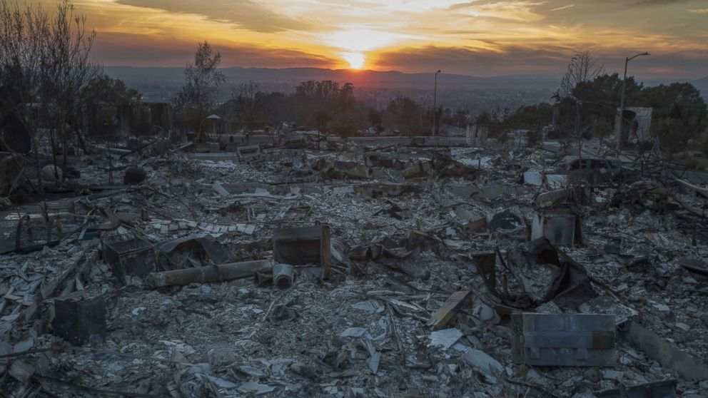 The ruins of houses destroyed by the Tubbs Fire are seen near Fountaingrove Parkway, Oct. 14, 2017 in Santa Rosa, Calif.
