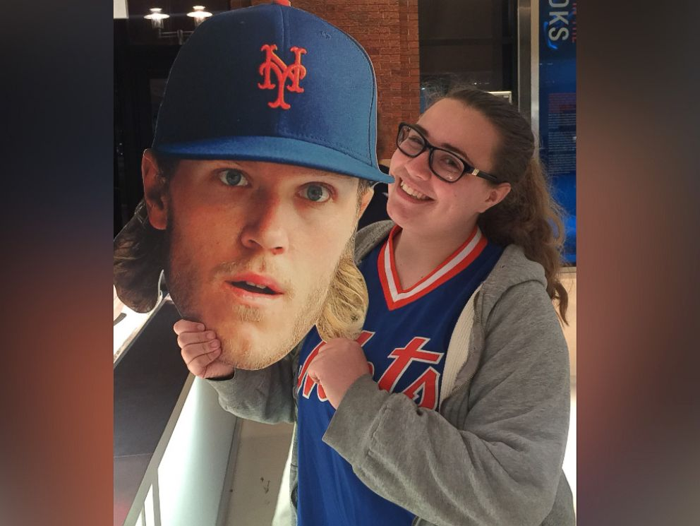 36231e4435af PHOTO  Callie Quinn holding a cut out of one of her favorite Mets players