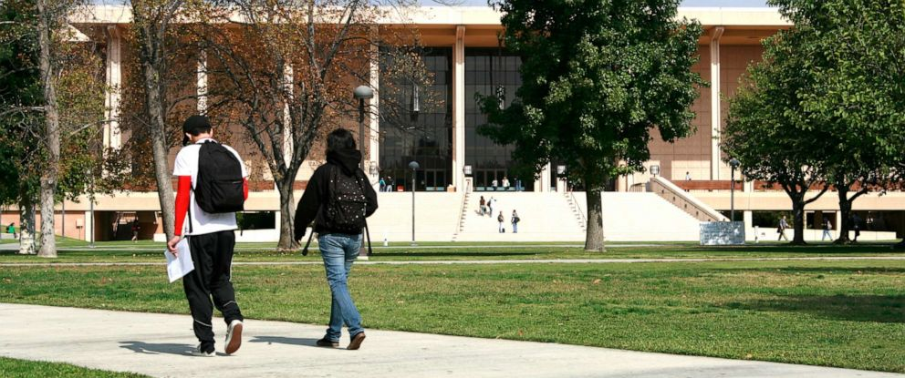 PHOTO: Students walking to class on the California State University, Northridge campus in Los Angeles.