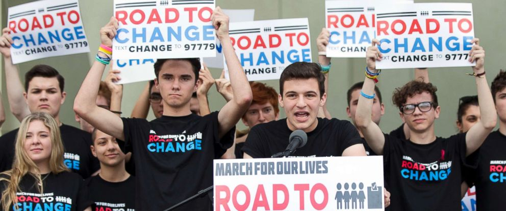 PHOTO: Cameron Kasky, center, speaks during a news conference, June 4, 2018, in Parkland, Fla.