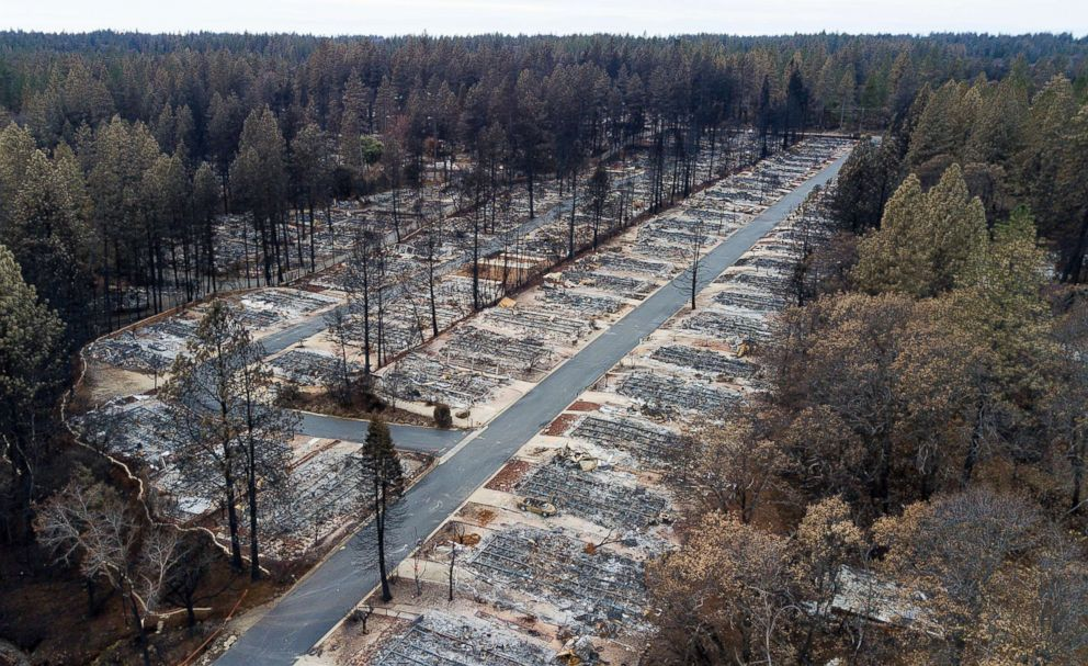 PHOTO: Homes leveled by the Camp Fire line the Ridgewood Mobile Home Park retirement community in Paradise, Calif., Dec. 3, 2018.