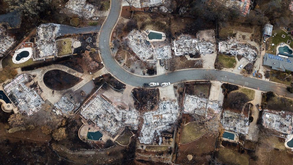 Homes leveled by the Camp Fire line Valley Ridge Drive in Paradise, Calif., Dec. 3, 2018.