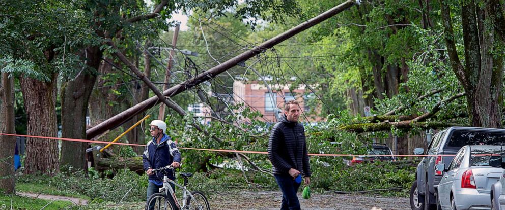 PHOTO: A street is blocked by fallen trees as a result of Hurricane Dorian pounding the area with heavy rain and wind in Halifax, Nova Scotia, Sept. 8, 2019.