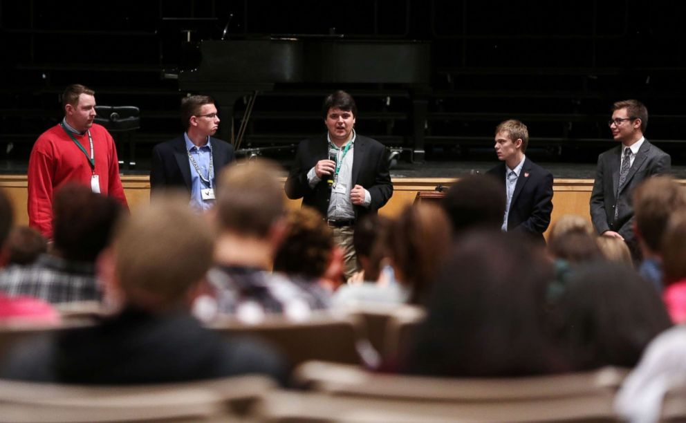 Jack Bergeson (C), 16, speaks during a forum with the three other teenage candidates Ethan Randleas (L), 17, Jack's running mate Lt. Governor Candidate Alexander Cline, 17, Tyler Ruzich (2ndR), 17, and Dominic Scavuzzo (R), 17, are running for Kansas Governor at Free State High School in Lawrence, Kansas, Oct. 19, 2017.