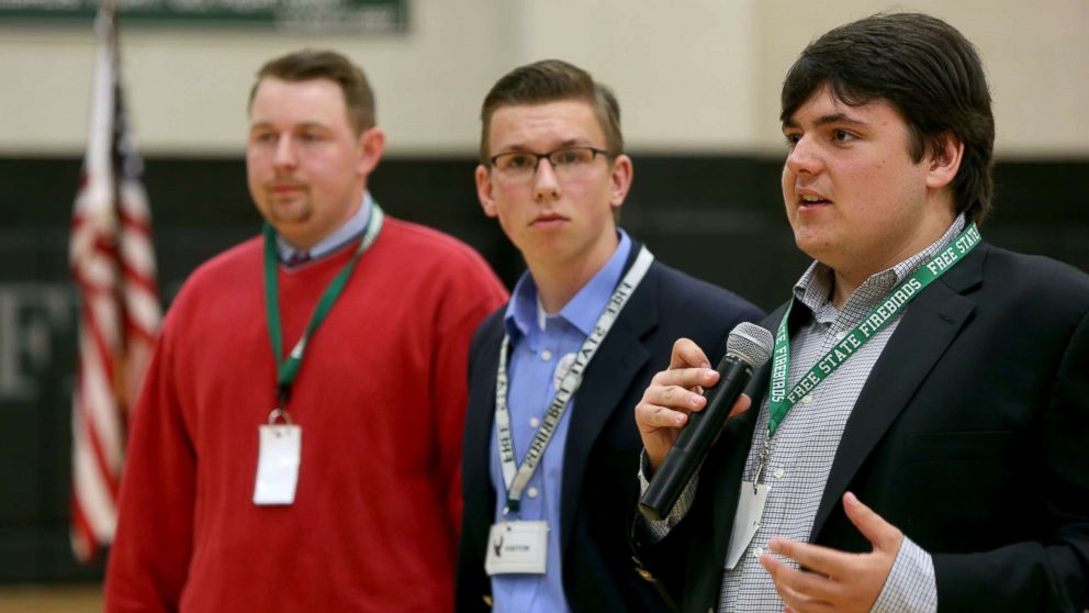 Jack Bergeson, 16, of Wichita, Kansas speaks during a forum with some of the four teenage candidates for Kansas Governor at Free State High School in Lawrence, Kansas, Oct. 19, 2017, joined by Ethan Randleas, 17, of Wichita,and Jack's running mate Lt. Gov. Candidate Alexander Cline(C), 17, of Wichita. The state of Kansas has no age restrictions for gubernatorial candidates. The mid-term election will be held on November 6, 2018.