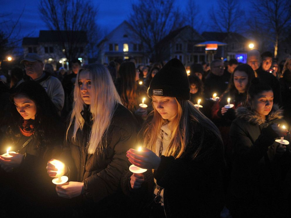 PHOTO: People attend a candlelight vigil for slain college student Samantha Josephson in Robbinsville, N.J., April 2, 2019.