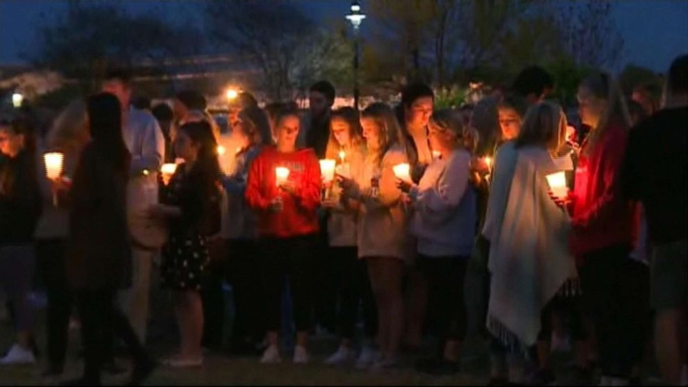 People gather for a candlelight vigil at the University of South Carolina for student Samantha Josephson, whose body was found on March 30, 2019.