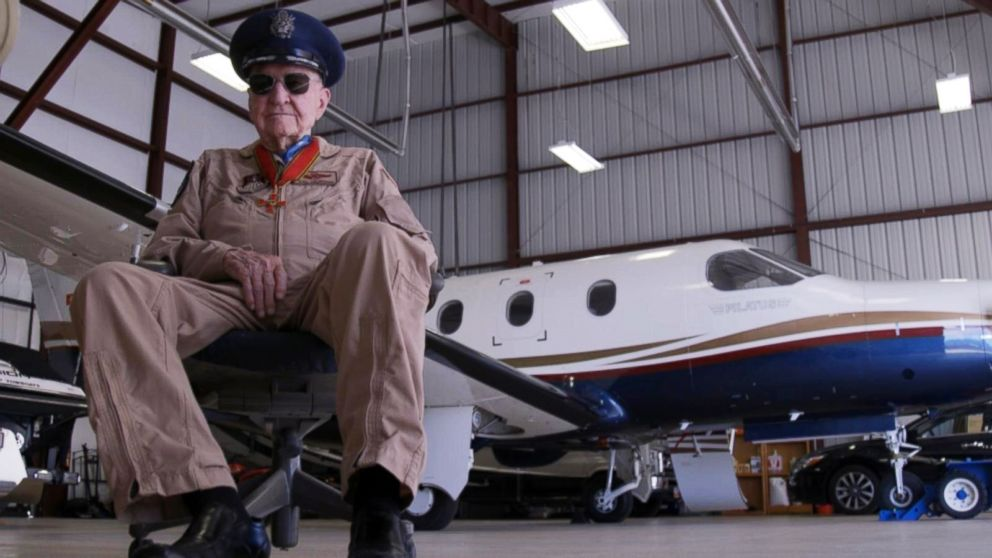 PHOTO: Col. Gail Hal Halvorsen sits in an airplane hangar in Spanish Fork, Utah. The purpose of the air drop is to bring more recognition to the Gail S. Halvorsen Aviation Education Center thats planning to be built.