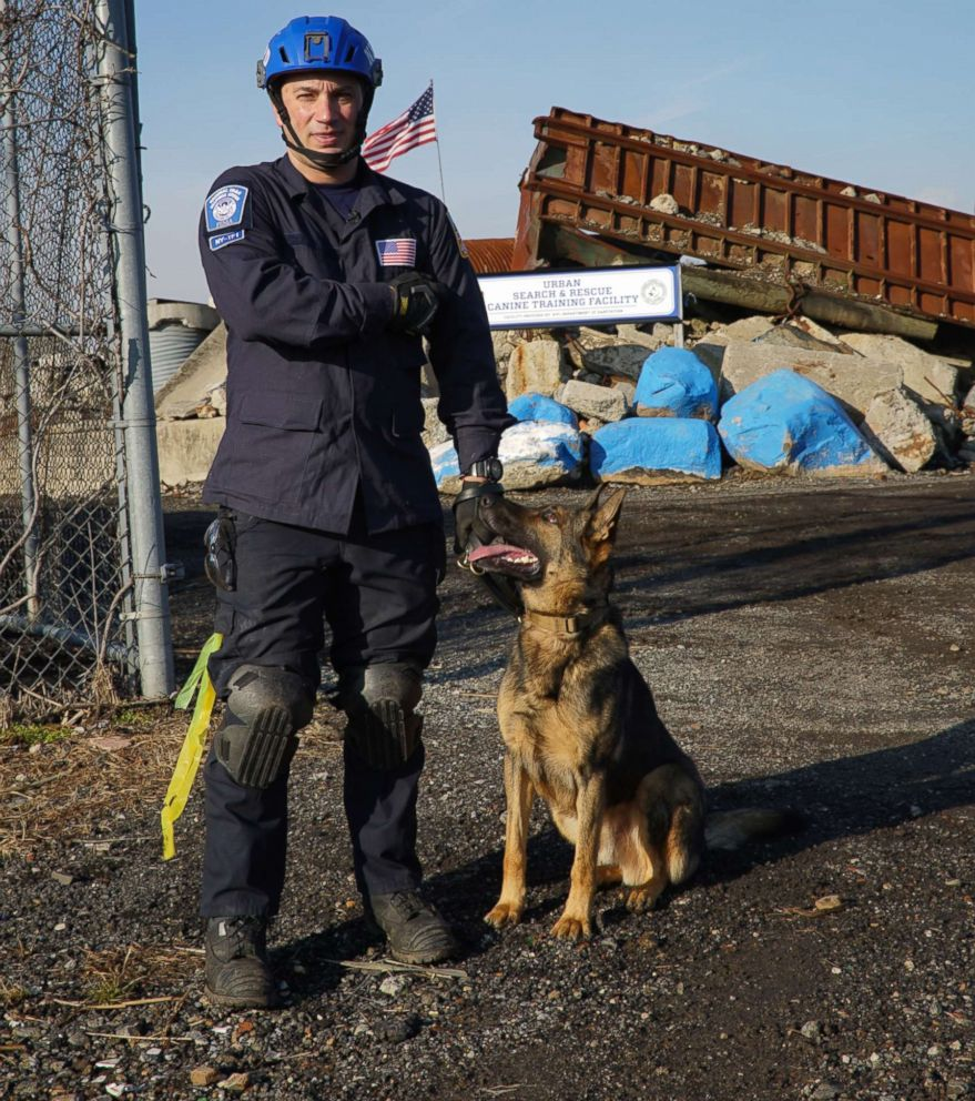 PHOTO: Tuz with his handler NYPD Officer Dan Bosco at the FEMA Urban Search and Rescue team exam.