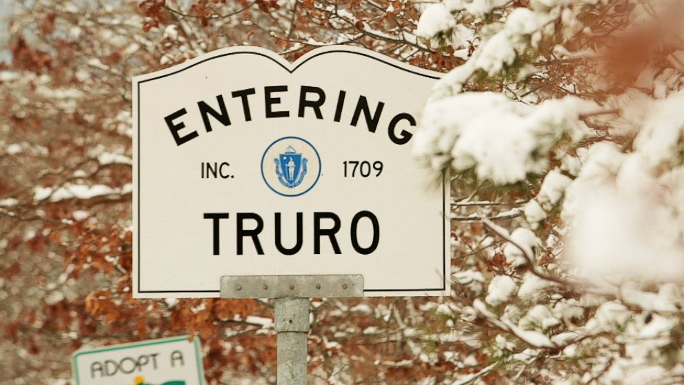 The welcome sign for the town of Truro, Mass.