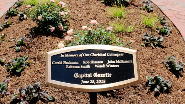 Memorial garden dedicated for Capital Gazette newspaper employees killed in shooting