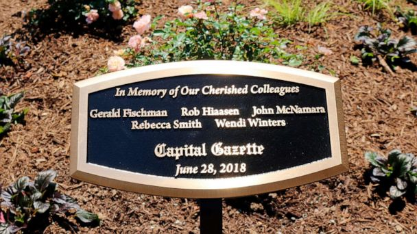 Memorial garden dedicated for Capital Gazette newspaper employees killed in shooting