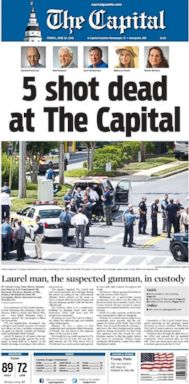 The Friday, June 29, 2018, cover of the Capital Gazette covered the shooting at the papers newsroom.