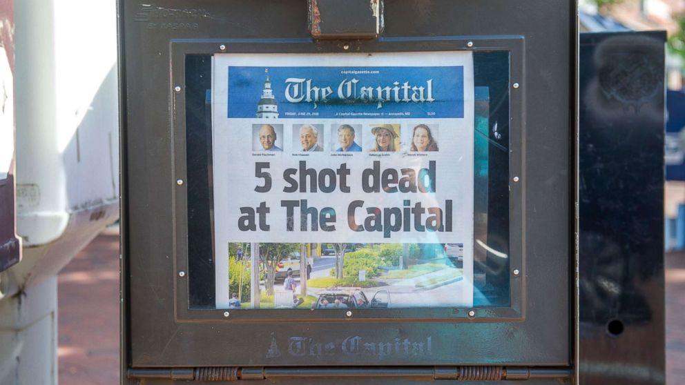 Today's edition of The Capital is seen for sale in a newspaper box on Main Street in Annapolis, Maryland, June 29, 2018.