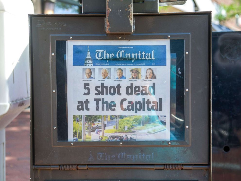 PHOTO: Todays edition of The Capital is seen for sale in a newspaper box on Main Street in Annapolis, Maryland, June 29, 2018.