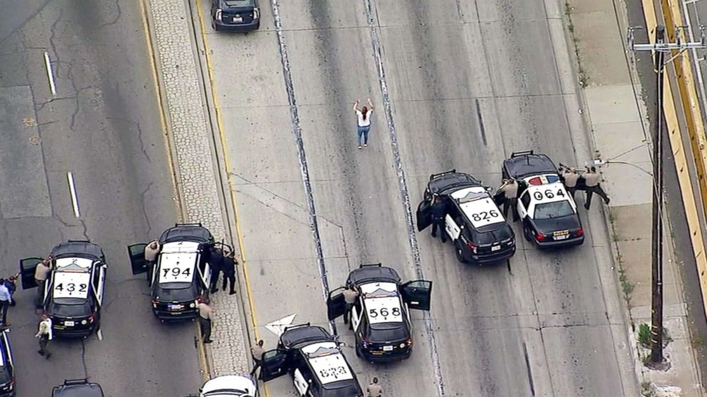 PHOTO: A high-speed pursuit ended in a shootout and led to a tense standoff with a murder suspect in Vernon Friday.