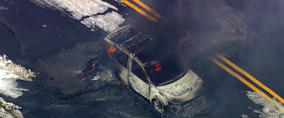 PHOTO: A car burst into flames in Franklin Lakes, New Jersey, killing the driver, March 8, 2018.