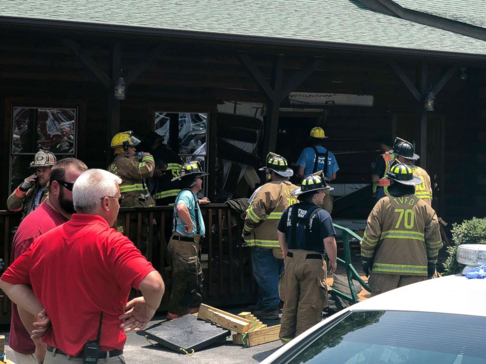 PHOTO: Authorities work the scene of a restaurant where police say a man intentionally rammed a vehicle into the steak and seafood eatery shortly after midday Sunday, May 20, 2018, in Bessemer City, N.C.