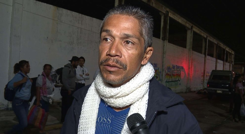 PHOTO: ABC News interviews Rafael Garcia of Guatemala, who is traveling with his 13-year-old daughter and baby son, who is 14 months old with the caravan headed to the United States.