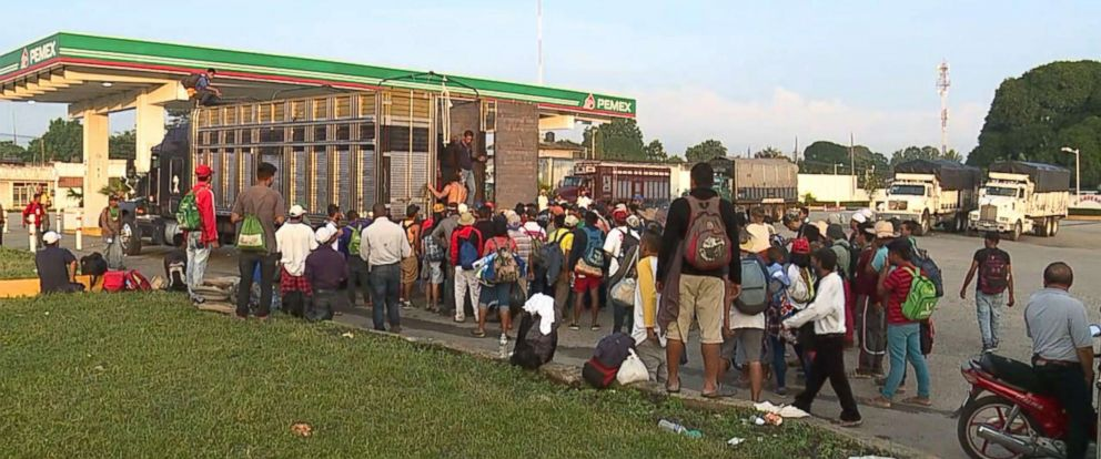 PHOTO: Aa gas station in Loma Bonita, Oaxaca, where people were being charged up to 150 peso to get on a truck.