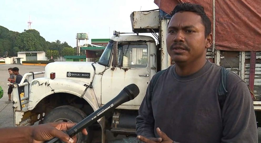 PHOTO: ABC News interviews Franklyn Cano, 30, of Honduras who says many people cant afford to pay the 150 pesos for a truck ride as he travels with the caravan towards the United States.