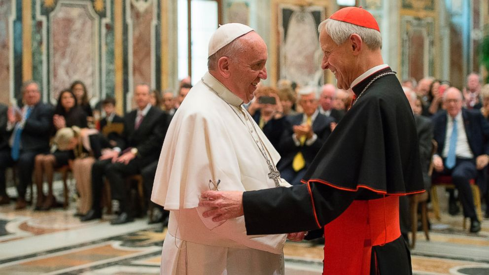 In this Wednesday, Oct. 20, 2010 file photo, Pope Francis, left, talks with Papal Foundation Chairman Cardinal Donald Wuerl, Archbishop of Washinghton, D.C., during a meeting with members of the Papal Foundation at the Vatican.