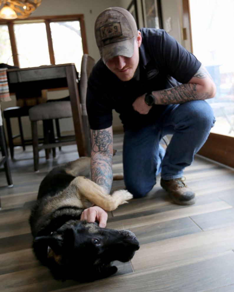 PHOTO: Sgt. Wess Brown (U.S. Army) pictured with Isky Brown at home in Catlett, VA.