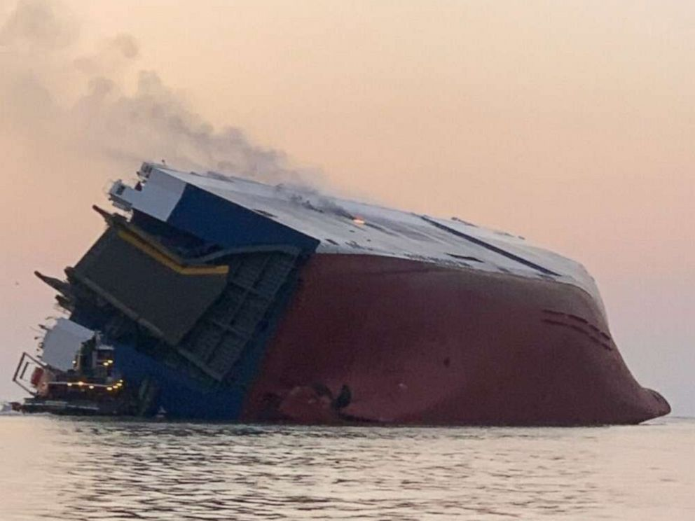PHOTO: A cargo ship caught fire and overturned in the St. Simons Sound off Brunswick, Ga, Sept. 8, 2019.