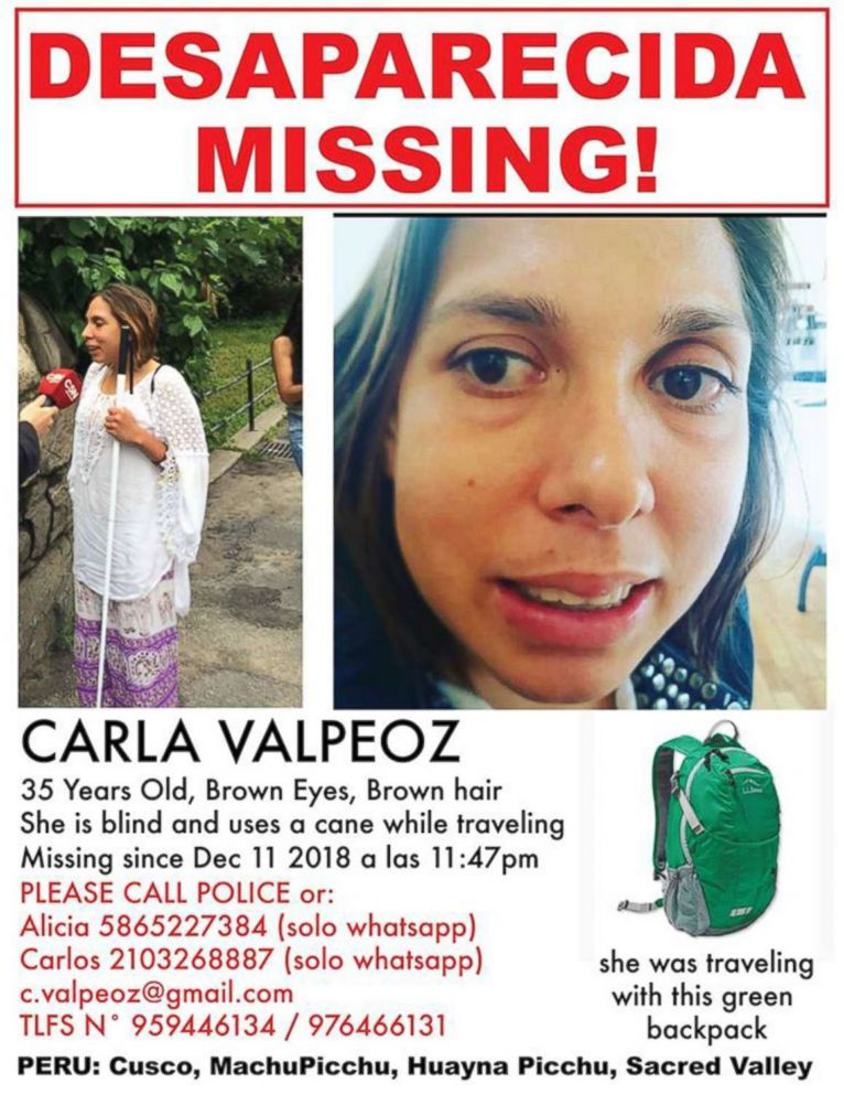 PHOTO: Carla Valpeoz, a partially blind traveler who has gone missing in Peru, is pictured on a poster released by her employer, the Arab American National Museum.