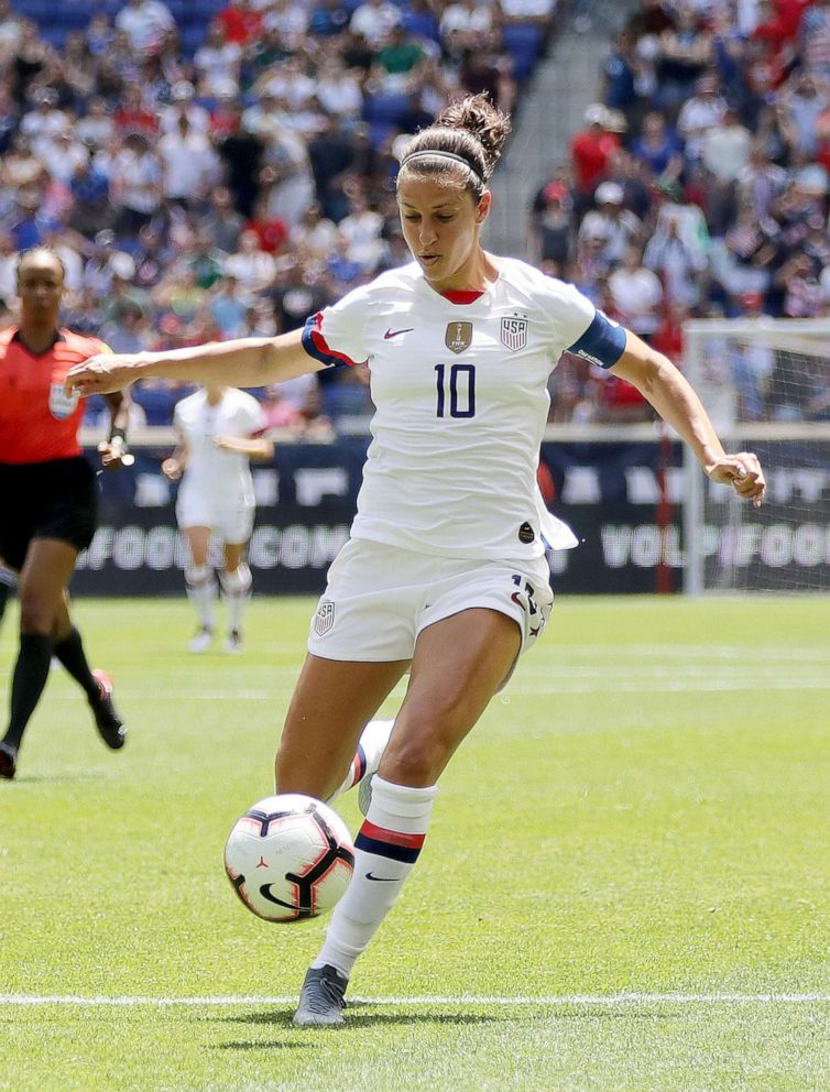 PHOTO: Carli Lloyd #10 of the United States takes the ball in the second half against Mexico at Red Bull Arena, May 26, 2019, in Harrison, New Jersey.