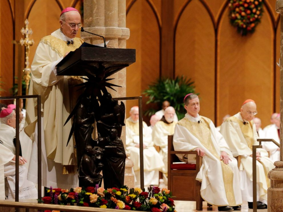 In this Nov. 18, 2014 file photo, Archbishop Carlo Maria Viganò reads the Apostolic Mandate during the Installation Mass of Archbishop Blase Cupich at Holy Name Cathedral, in Chicago.